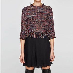 NWT Zara Tweed Pleated Dress